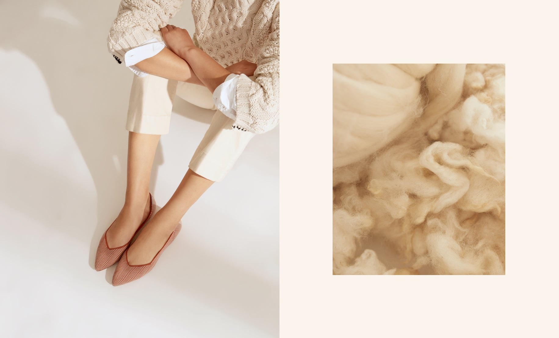 On the left, The Merino Point in Camel Herringbone shown on a model's feet. On the right, a ball of soft merino wool.
