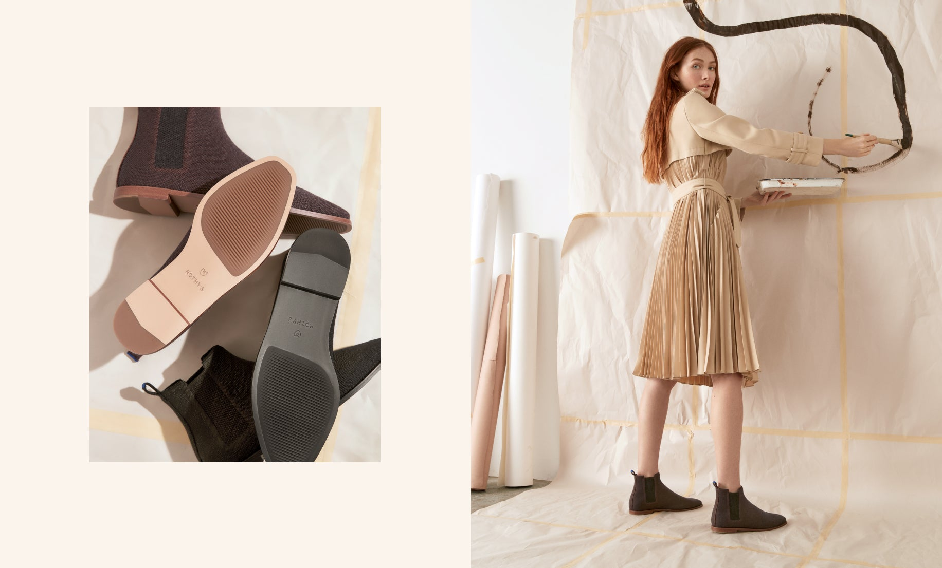 On the left, two pairs of The Merino Ankle Boot in Onyx Black and Cocoa Brown lying on the floor. On the right, model wearing The Merino Ankle Boot in Cocoa Brown and painting on a cream canvas.