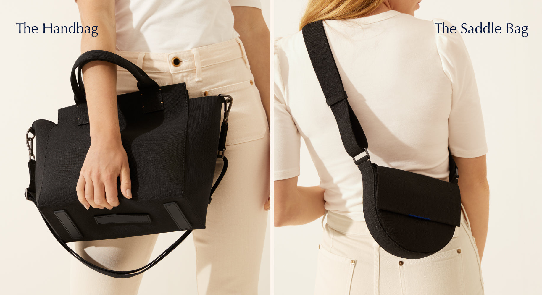 On the left, model holding The Handbag in Total Black. On the right, model wearing The Saddle Bag in Total Black.