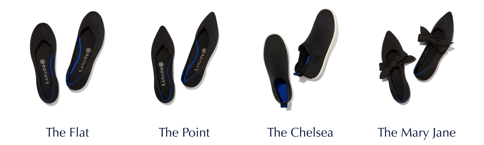 Lineup of The Flat, The Point, The Chelsea and The Mary Jane in Black, with silhouette names under.