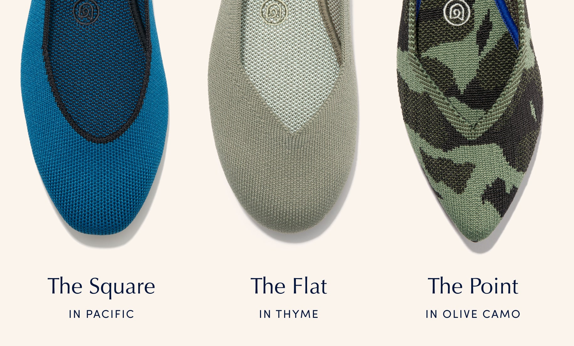 Image showing The Square in Pacific, The Flat in Thyme and The Point in Olive Camo, with the product name listed beneath each shoe.