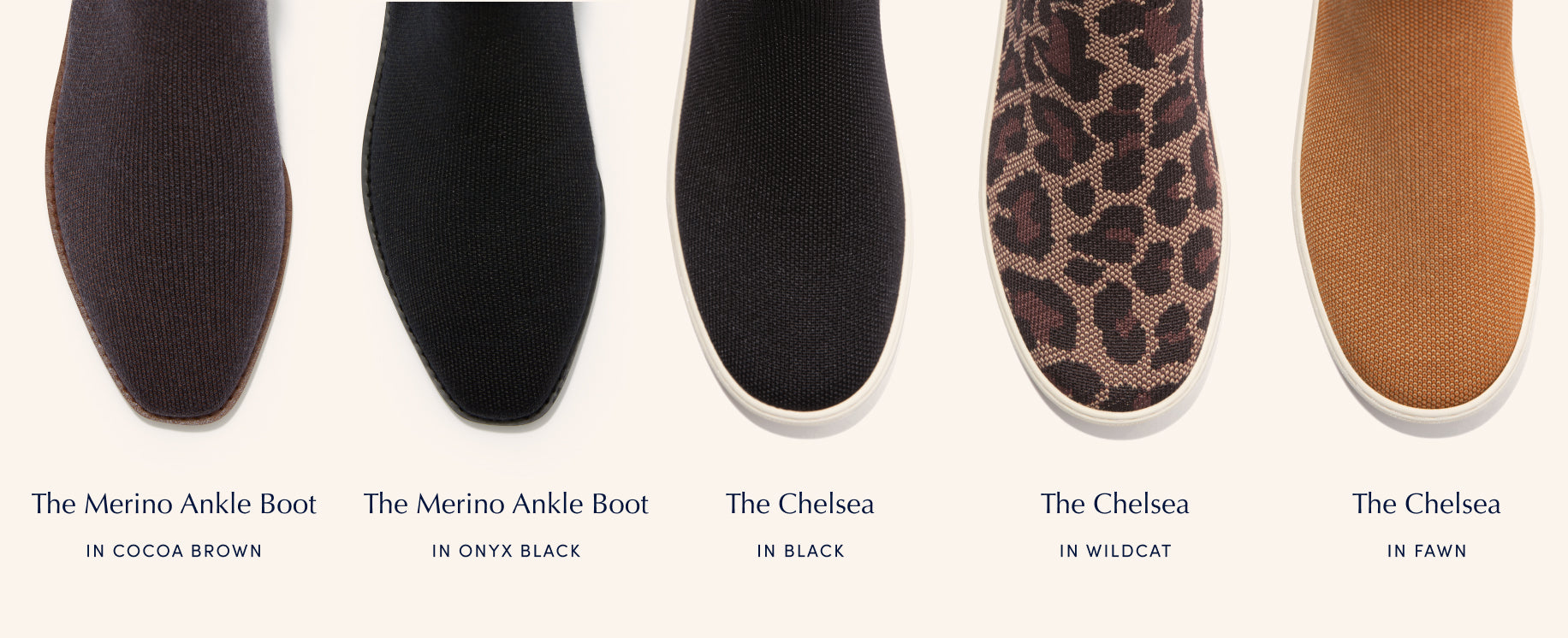 Infographic showing the toe areas of an assortment of The Merino Ankle Boot and The Chelsea styles, with each silhouette name beneath.