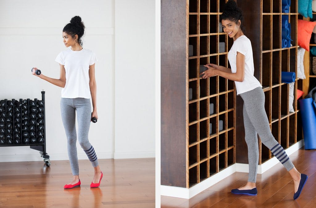 Model shown exercising in leggings and a pair of Rothy's flats.