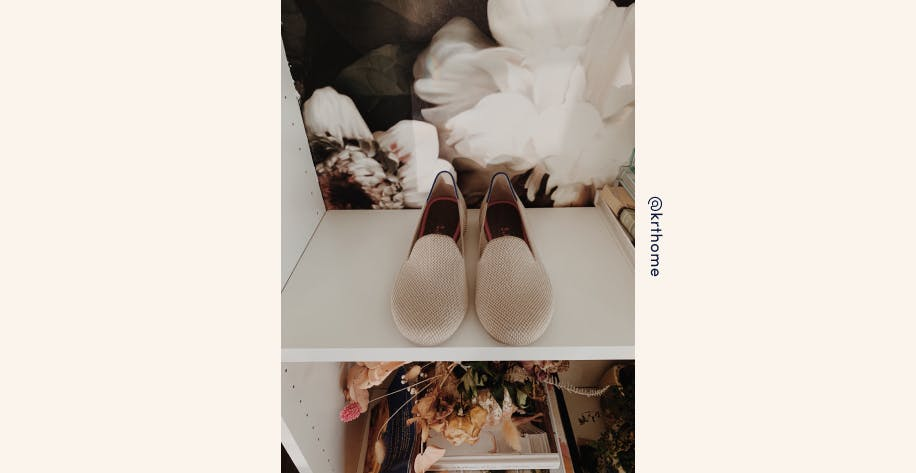 An instagram image by user @krthome of a pair of neutral Rothy's loafers placed upon a white shelf.
