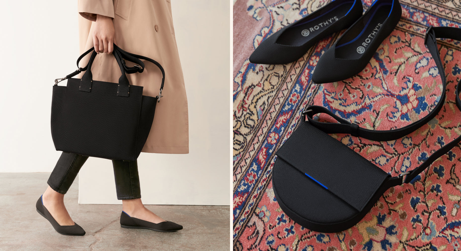 Model holding The Handbag in Total Black and wearing The Point in Black.