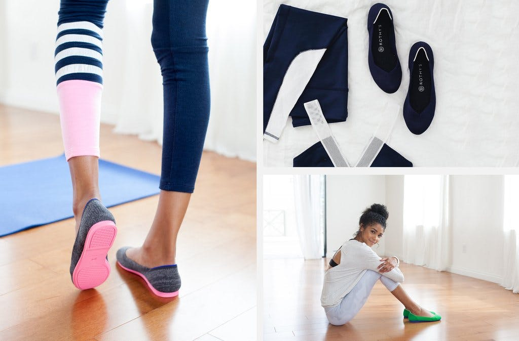 An assortment of Rothy's flats shown on a a pair of feet while exercising, placed next to clothing, and on a model as she sits on the floor.