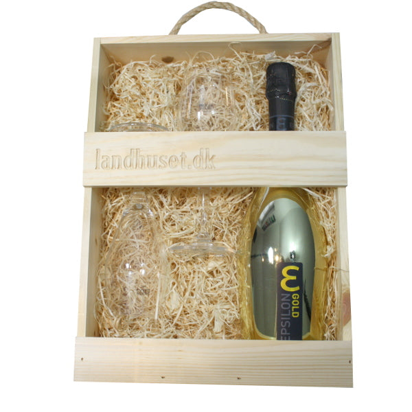 Epsilon Spumante Gold - extra dry og 2 Holmegaard Perfection champagneglas 23 cl.
