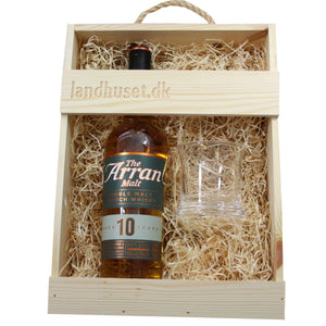 The Arran Malt - 10 Years Old - 46% vol. Single Island Malt og 1 Holmegaard No. 5 sjusglas 24 cl.
