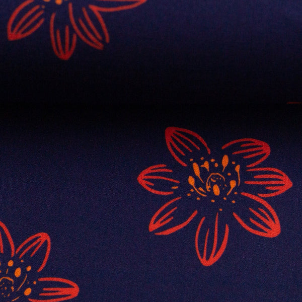 Oeko-Tex Rayon Flowers- Dark Blue - $28.00/metre