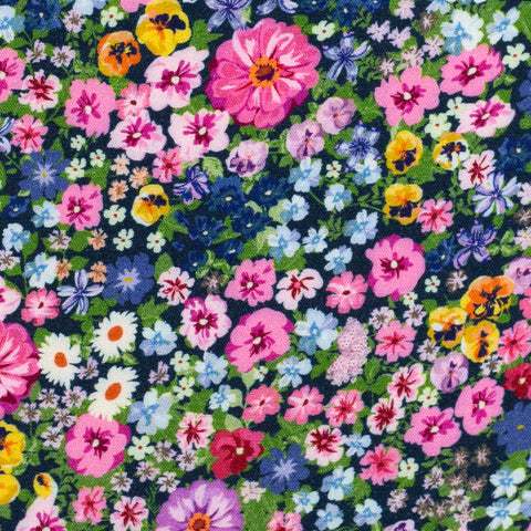 Rayon Flowers, Pink, Dark Blue -$32.00/metre