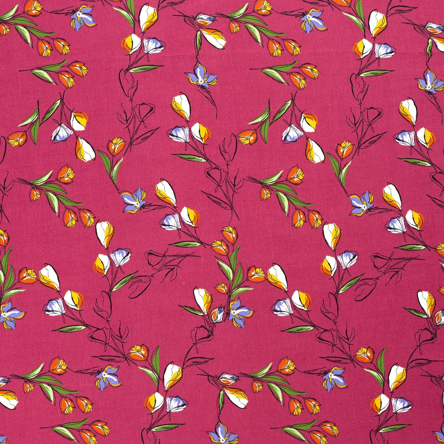 Viscose Crepe Pretty Flowers- Pink $32.00/metre