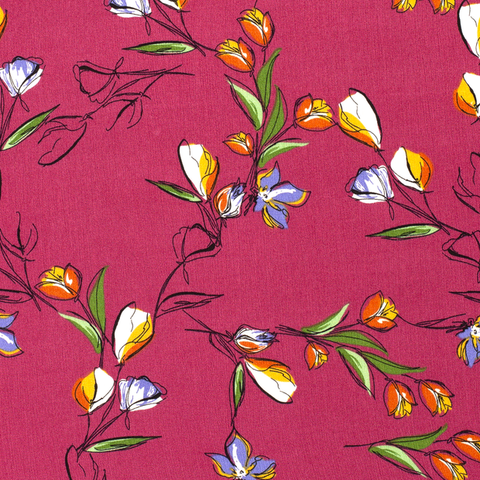 Viscose  Pretty Flowers- Pink