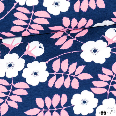 PaaiPii Design GOTS Organic Cotton Jersey - Blueberry and Pink -$32.00/metre