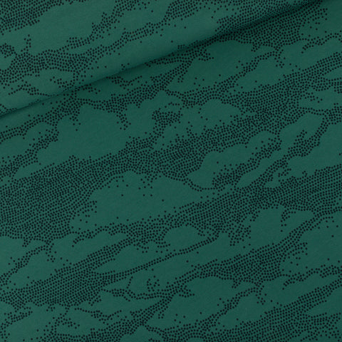 See You at Six French Terry Clouds- Bistro Green- $38.00/metre