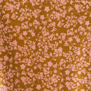 Rayon - Cognac with Small Flowers -$28.00/metre
