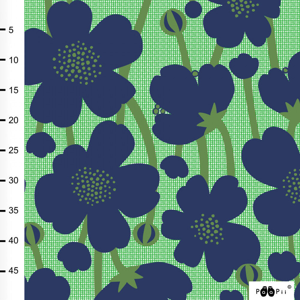 PaaiPii Design GOTS Organic Cotton Jersey- Blueberry and Green- 70cm