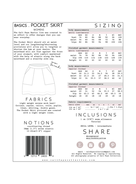 Basics . Pocket Skirt Pattern