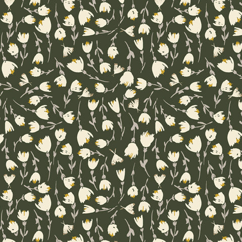 Art Gallery Olive Green with flowers Rayon - $28.00/metre