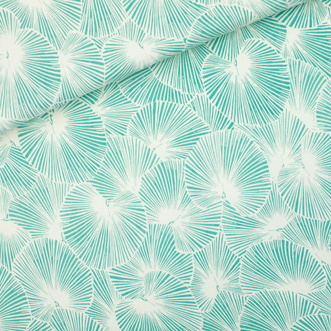 See You at Six Fan Leaves - French Terry - Sea Salt- $38.00/metre