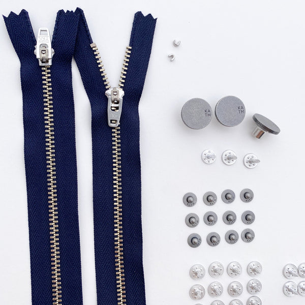 Kylie and the Machine Jeans Hardware Kit - Navy Zipper / Pewter Hardware