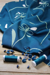 Bloom Blue Viscose- $38.00/metre