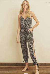 Cheetah Sleeveless Surplice Jumpsuit