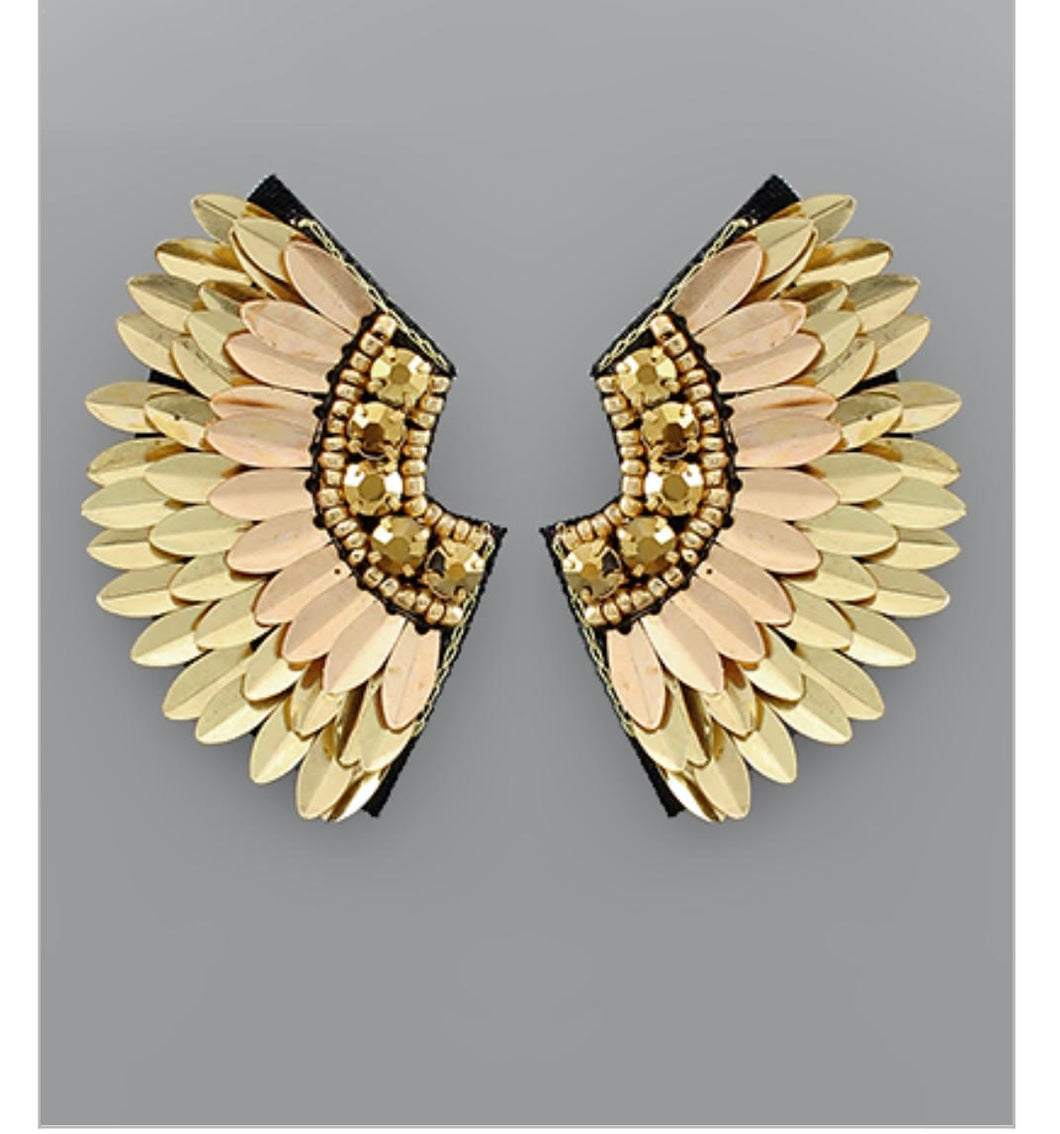 Curved Spiked Wing Earrings