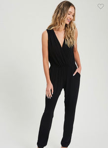 Solid Sleeveless Surplice Jumpsuit