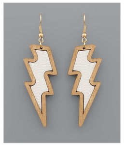 Leather and Wood Lightning Earrings