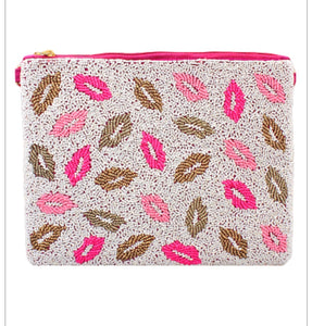 'Kiss Me All Over' Lips Beaded Clutch