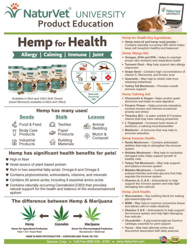 hemp for health at thepetshow.com