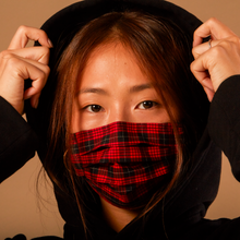 Load image into Gallery viewer, RED PLAID - HANDMADE 100% COTTON REUSABLE FACE MASK