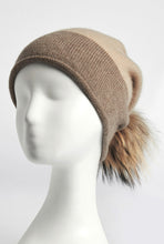 Load image into Gallery viewer, CASHMERE BEANIE HAT - FAUX FUR POMPOM