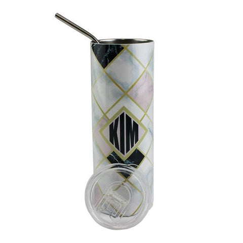 Luma Steel™ Sublimation Blank Stainless Steel Tumbler - 20oz - Clear Lid and Straw