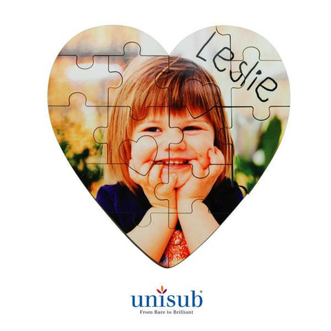 "16 Piece Unisub® Sublimation Jigsaw Puzzle - 5""x 5"" - Heart"