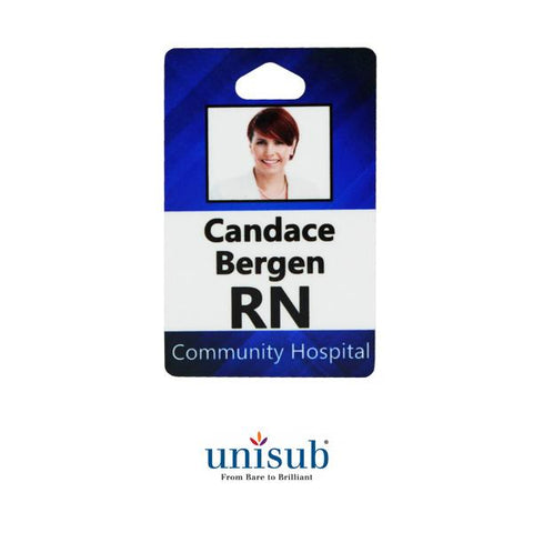 "Unisub Sublimation Blank FRP ID Badge - 2.125"" x 3.375"" - Gloss White - Portrait Orientation"