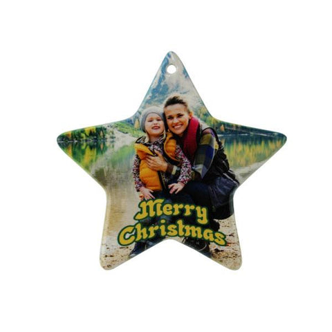 "DyeTrans Sublimation Blank Porcelain Ornament - 3.75"" x 4"" Star w/Cord Hanger"