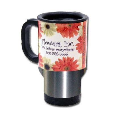 DyeTrans Sublimation Blank Stainless Steel Travel Mug - 14oz - Clear w/White Panel