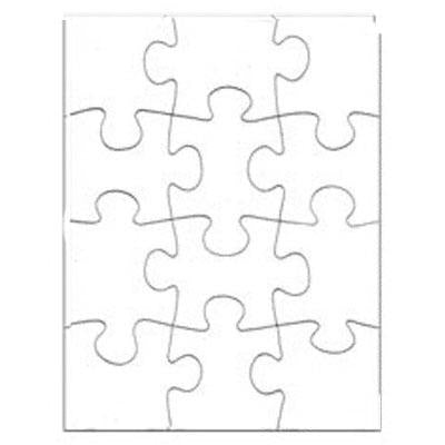 "DyeTrans Sublimation Blank Cardboard Puzzle - 7.5"" x 9.5"" - 12 Pieces - Gloss White - 10 Pack"