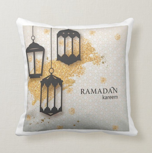 Ramadan Kareem Lantern Lamps Festive Ramadan Greetings Cushion Pillow - RazKen Gifts Shop