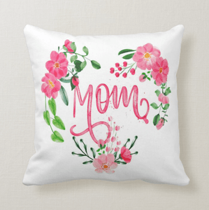 Mom Floral Heart Decorative Cushion Pillow, Gift for Mother, Mom, Mum, Cushion Pillow - RazKen Gifts Shop