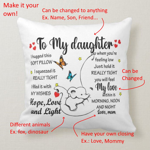 Personalized Pillow To My Daughter, Son, Friend, Grandson, Dad, I hugged This Soft Pillow - RazKen Gifts Shop - 1 Day Processing time - Fast Shipping