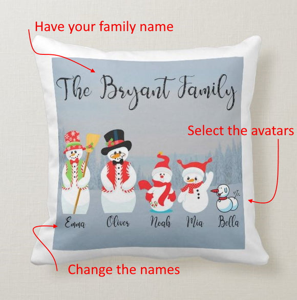 Personalized Snowman Family Custom Avatars Square Throw Pillow Cover - RazKen Gifts Shop