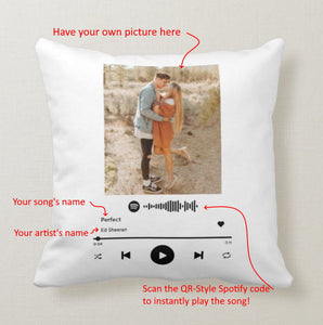Create Your Own Spotify Song Interactive Pillow, Own Picture, Song's and Artist's Names, Pillow - RazKen Gifts Shop