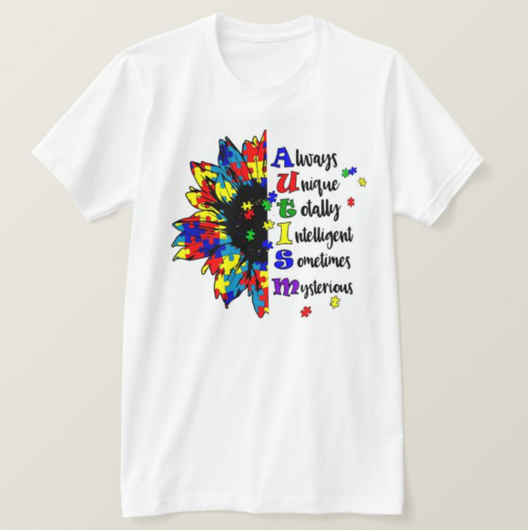 Autism Awareness Sunflower, Permanently Printing (NOT Vinyl), Unisex Adult White Tshirt - RazKen Gifts Shop