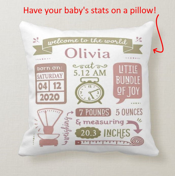 Personalized Baby Statistics Boy Girl Birth Announcement, Birth Stats New Born Gift Cushion Pillow - RazKen Gifts Shop