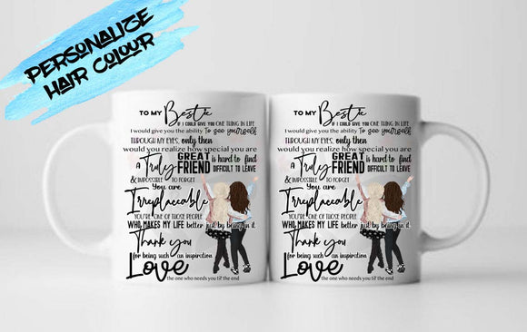 Gift for My Bestie, Dude, Couple, BFF, Great Friend is Hard to Find Quote, Personalize Hair Colour Mug - RazKen Gifts Shop - 1 Day Processing time - Fast Shipping