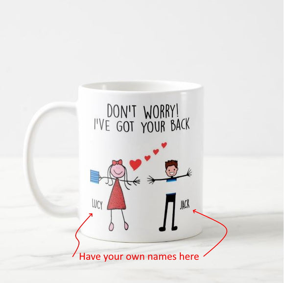 Personalized Names I've Got Your Back Funny Couple Mug - RazKen Gifts Shop