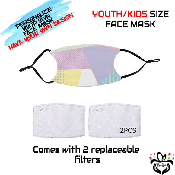 Personalize Your Own Design Kids/Youth Face Mask with Black Straps and 2 Replaceable Filters - RazKen Gifts Shop - 1 Day Processing time - Fast Shipping