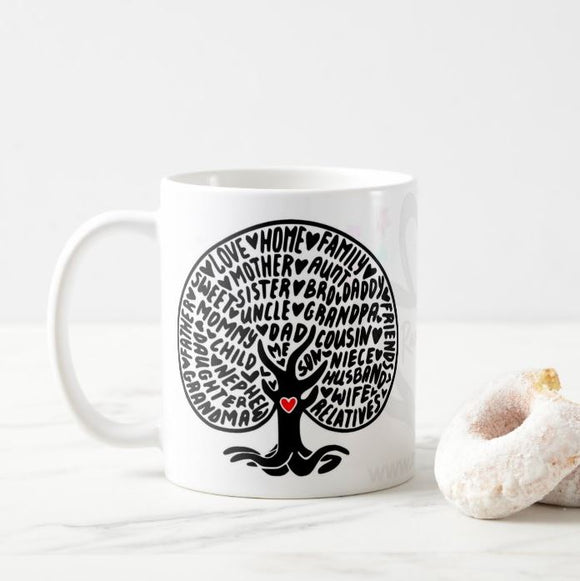 Family tree, family, family sayings, our nest, family sign, home, tree, lettering Mug - RazKen Gifts Shop - 1 Day Processing time - Fast Shipping